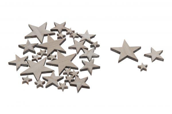 Wooden star 2.5-8cm mix 15pc