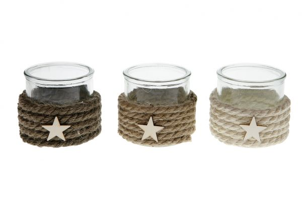 Tealight holder glass with rope 10x10x8cm 1pc mix box A/3