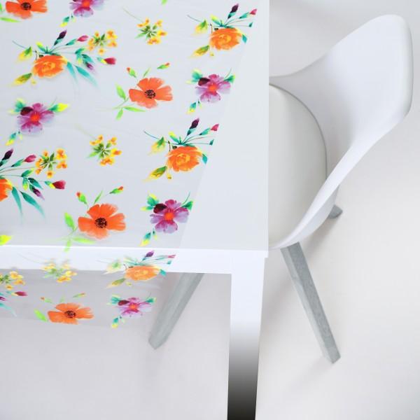 Tischbelag transparent Kristall Floral multicolours 140 cm