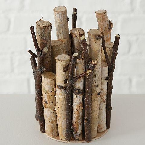 Vase Birki, H15cm,Birke,Natur