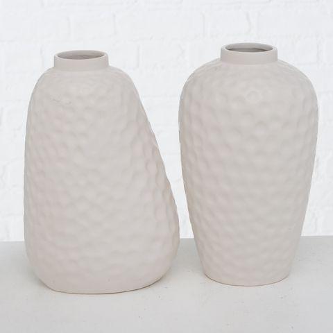 Vase Tirone, 2 sort., H 26,00 cm, Steingut, Matt, Einfarbig