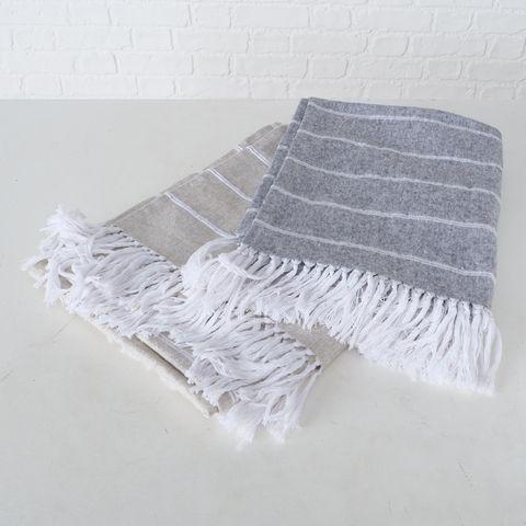 Decke Soegne, 2 sort., Baumwolle / 100%, Gestreift, Beige, Hellgrau, Weiß, Wendb