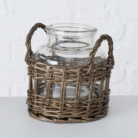Windlicht Anja, H 14,00 cm, Klarglas, Rattan, Natur Materialmix natur