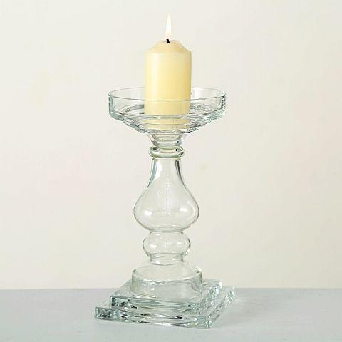 Kerzenleuchter Deven, H 32,00 cm, Klarglas, Transparent, Freistehend