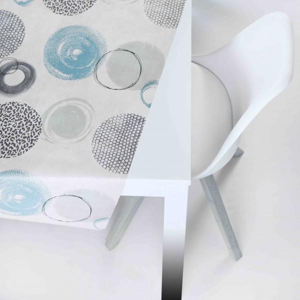 Tischbelag Vida Style Plus Circle beige turqoise Meterware 140 cm Breite
