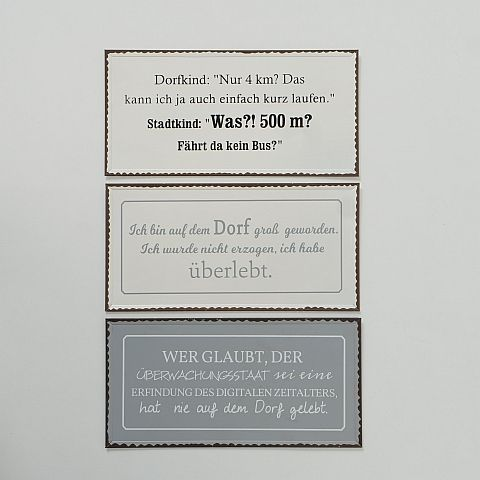 Schild Dorfleben, 3 sort., Typografie, B 40,00 cm, H 20,00 cm, Eisen lackiert