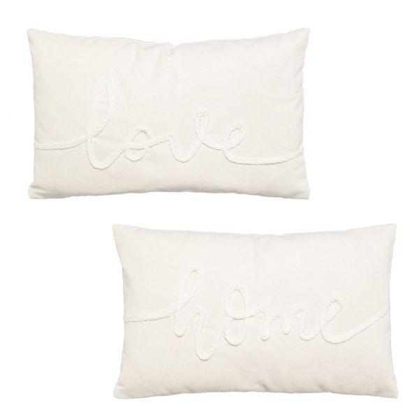Kissen Embroidery LOVE/HOME, 50x30cm, creme, 100% Baumwolle, Füllung 100% Polyester
