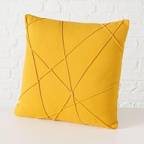 Kissen Tikas, 100% Polyester, Gelb, L 45 cm, B 45 cm
