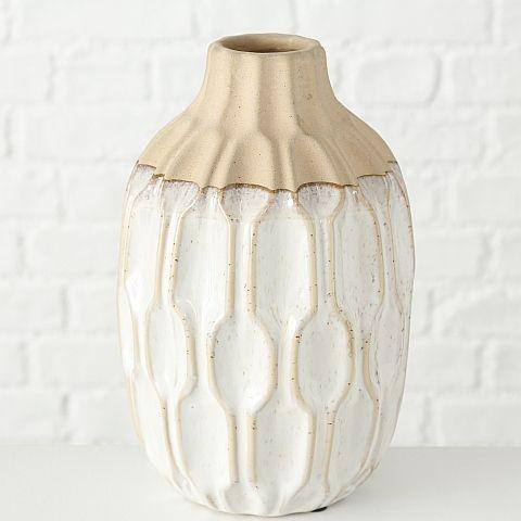 Vase Malia, H 25 cm, Keramik, Cremeweiß Steingut creme