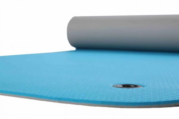 Gymnastikmatte mit Ösen türkis/grau zweifarbig 65 x 180 cm