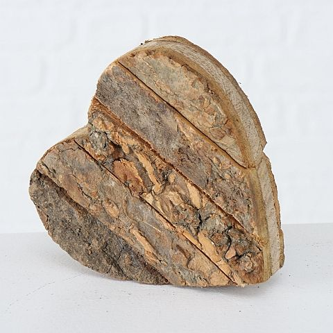 Dekoaufsteller Gerda, Herz, H 4,00 cm, Mango (Mangifera indica), Dunkelbraun