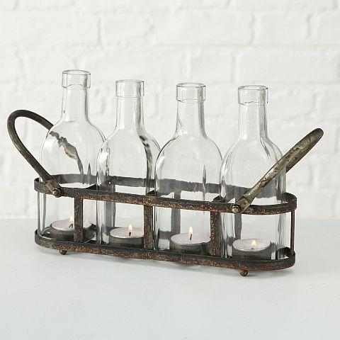 Teelichthalter Zuma, Flasche, Oval, H 18,00 cm, B 9,00 cm, Eisen, Klarglas