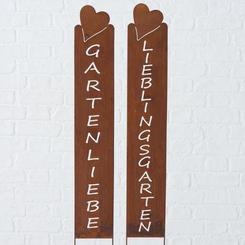 Gartenstab Geronimo, 2 sort., Rechteck, Herz, H 72,00 cm, Eisen, Usedlook