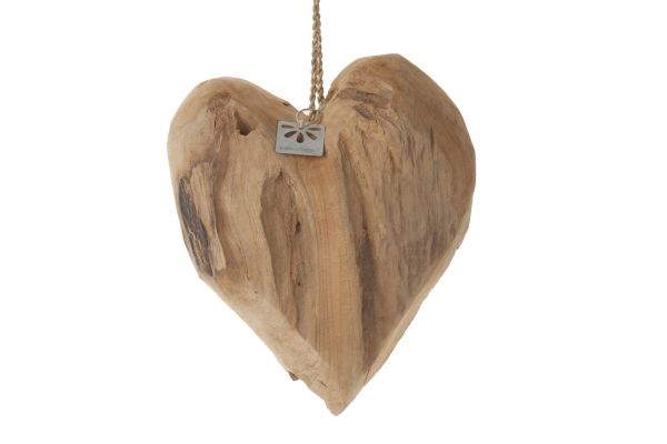 Teak heart 26x20x10cm
