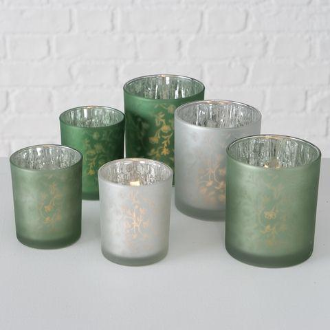Windlicht Silka, 3 sort., H 10,00 cm, Glas lackiert, Glanz,