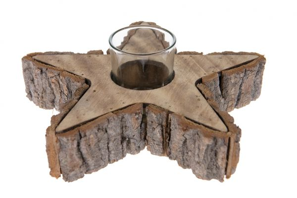 Candle holder star bark 20x20x7cm with glass