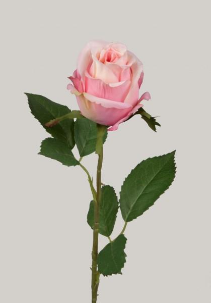 Rose, Stiel mit zwei Blättern, L:54 cm, Stiel aus Kunststoff