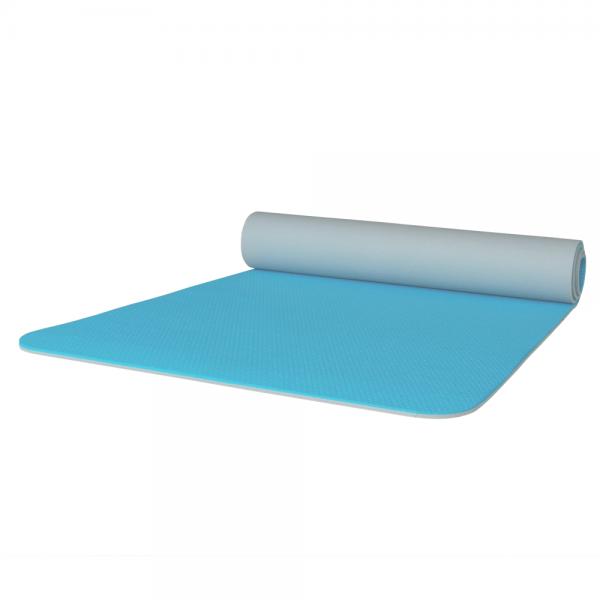 Gymnastikmatte türkis grau zweifarbig 65 x 180 cm abgerundet