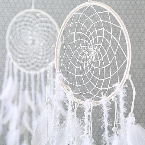 Traumfänger Romance, H 145 cm, D 35 cm, Federn, Weiß