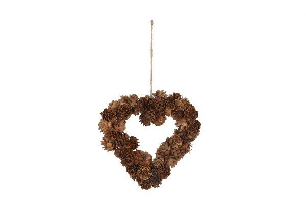 Hanger heart pine cones 18cm