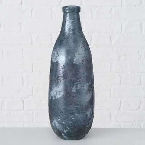Vase Verma, H 40,00 cm, Recyceltes Glas lackiert, Anthrazit