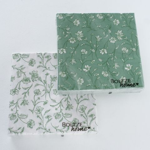 Servietten Silka, 20 tlg., 2 sort., Rundumdruck, Natur, Grün, Weiß, Papier