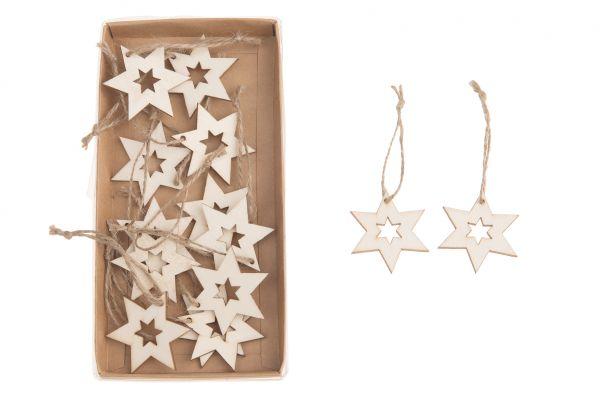 Wooden star hanger 5cm 14pc