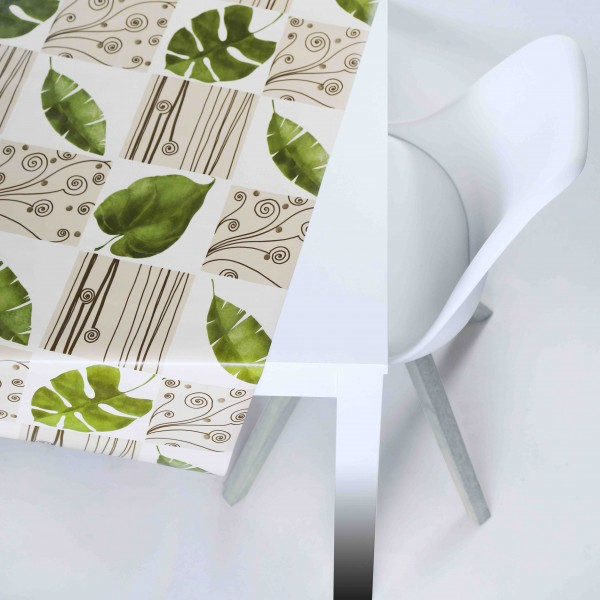Tischbelag Vida Style Leaves nature Meterware 140 cm