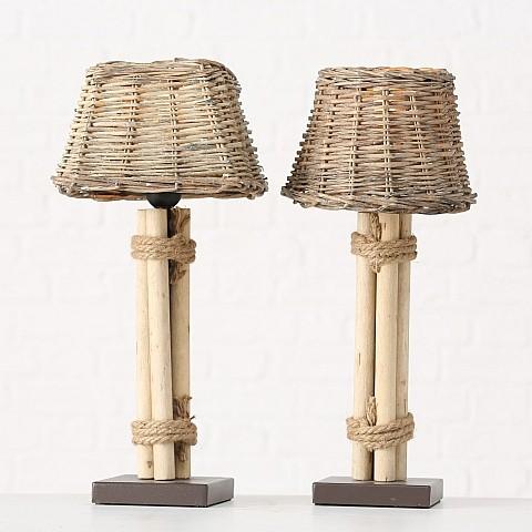 Lampe Lugano 2sort H45cm Material:40%Metall, 30%Weide, 30%Pappeln/ lat.Populus. Max 60W, 1xE27, EU S