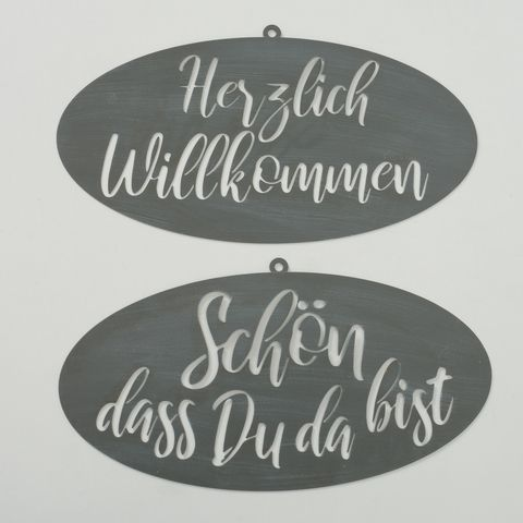 Schild Laila, 2 sort., Typografie, L 0,20 cm, H 50,00 cm, Eisen