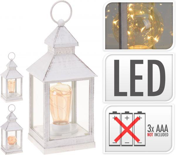 LATERNE MIT LAMPE 23CM 3SORT