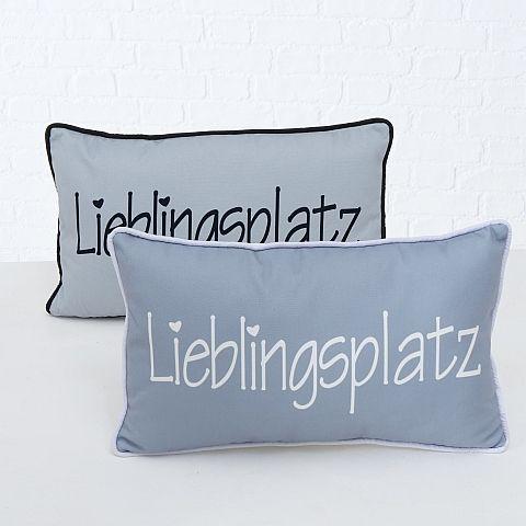 Kissen Lieblingsplatz, 2 Material:100%Polyester,30° Maschinenwäsche sort., Polyester, Grau Polyester