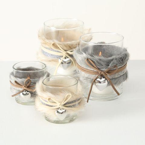 Windlicht Furry Glas mit Fell S/2 2s H8-13cm