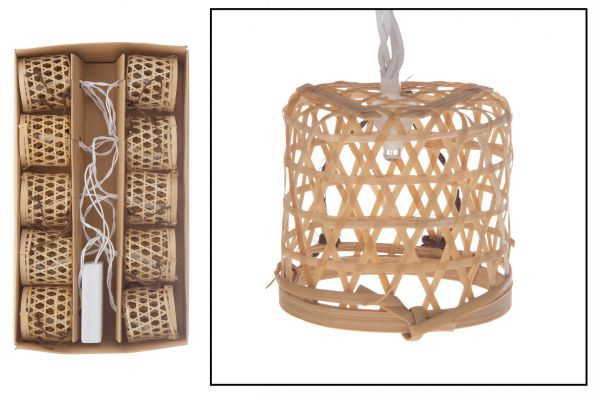 Bamboo basket light string with 10 lights