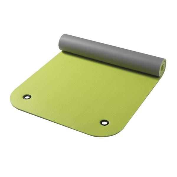 Gymnastikmatte mit Ösen apfelgrün/grau zweifarbig 65 x 180 cm