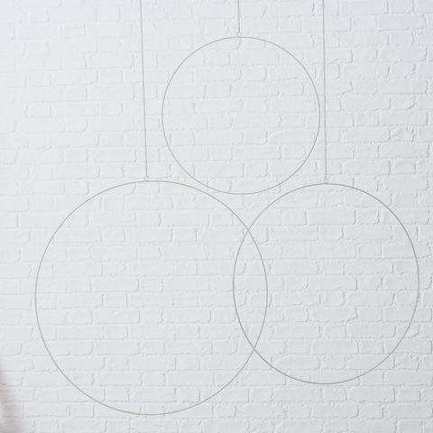 Dekoanhänger Rumba, 3 tlg., Set 3, H 0,4 cm, D 50-75 cm, Eisen pulverbeschichtet, Weiß Eisen pulverb