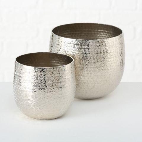 Pflanztopf Detroit, Indoor, H 15-18 cm, Aluminium, Silber