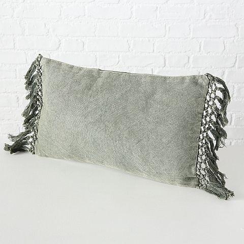 Kissen Linou, Baumwolle / 100%, Einfarbig, Khaki, 50x30cm, Füllung 100% Polyester