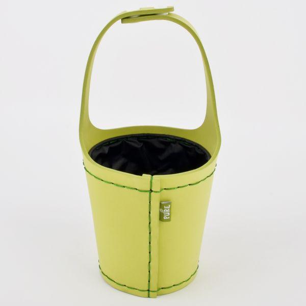 Topf rund m. Henkel Leder-Look Kunststoff