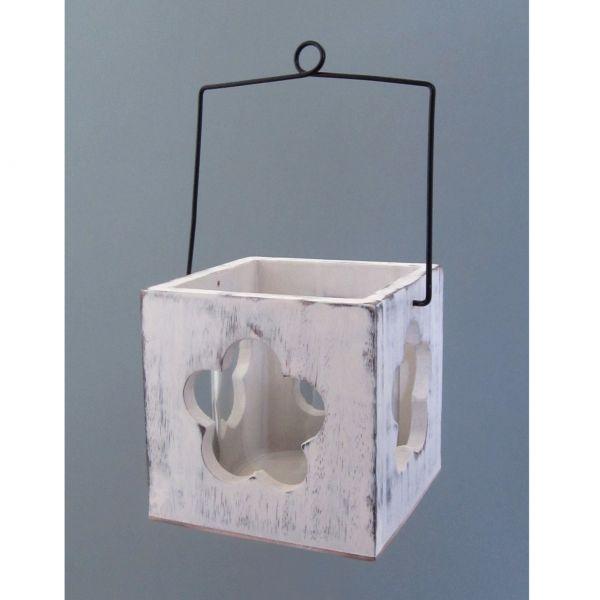 Holz Windlicht m.Griff BlŸte, 9x9cm, weiss