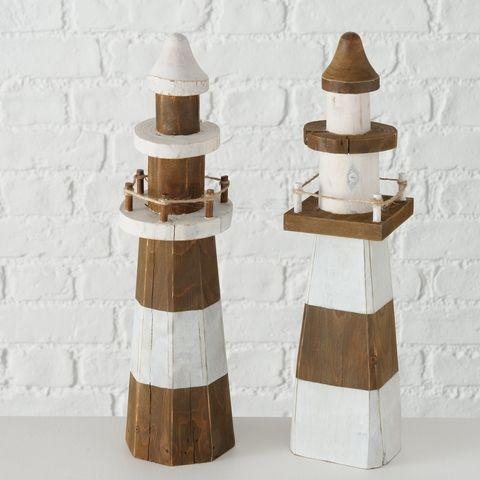 Dekoaufsteller Melino, 2 sort., Leuchtturm, H 35,50 cm, Spießtanne (Cunninghamia
