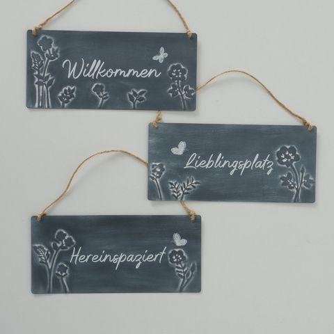 Schild Hereinspaziert, 3 sort., Natur, Typografie, B 11,50 cm, L 25,00 cm, Eisen