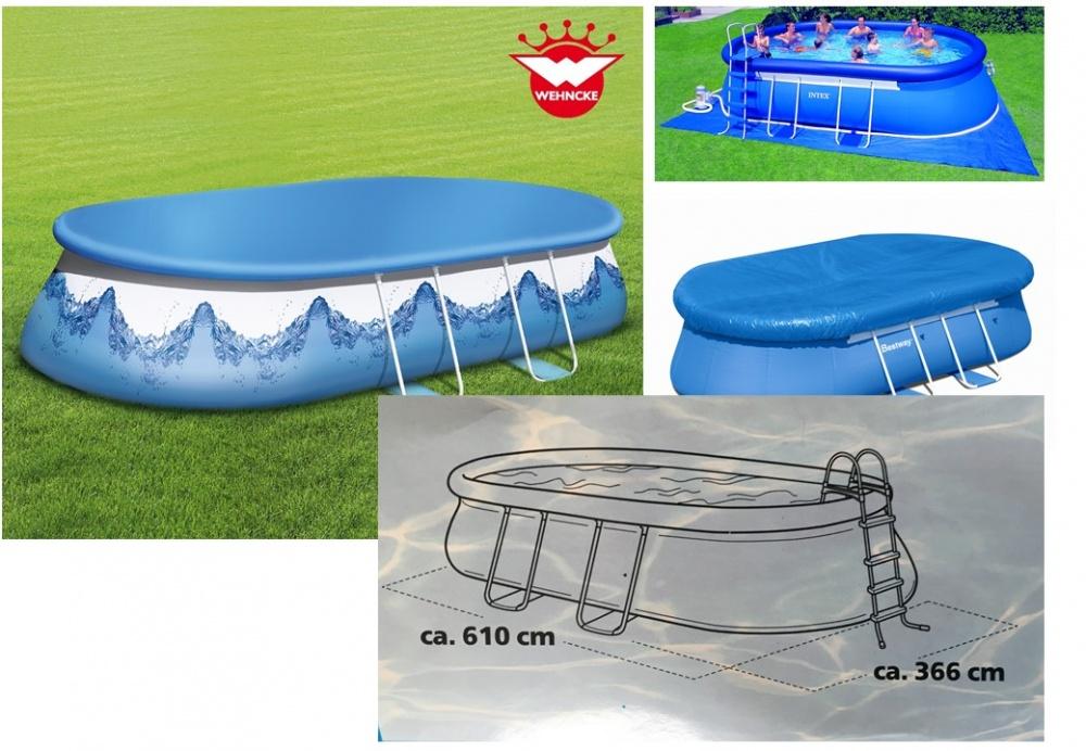 abdeckplane wehncke bestway intex pool oval f 610 x 366 cm ebay. Black Bedroom Furniture Sets. Home Design Ideas