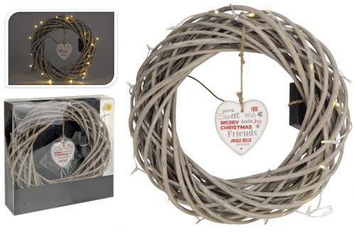 dekokranz in 36cm mit herz 20er led lichterkette adventskranz t rkranz ebay. Black Bedroom Furniture Sets. Home Design Ideas